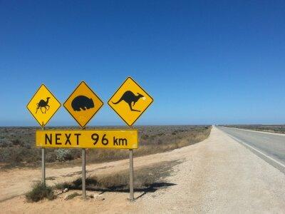 Posters Verkehrsschild Suivant 96 km im Outback, Australien