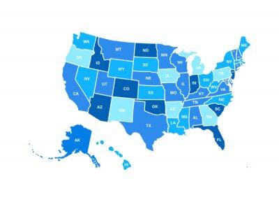 Posters Vide carte USA similaire isolé sur fond blanc. États-Unis d'Amérique, pays des usa. Modèle vectoriel usa pour site Web, design, couverture, infographie. Illustration graphique.