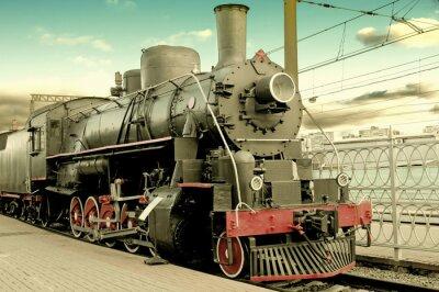 Posters Vieille locomotive à vapeur à la gare