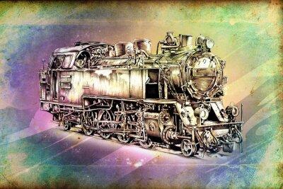 Posters vieille locomotive à vapeur rétro moteur cru