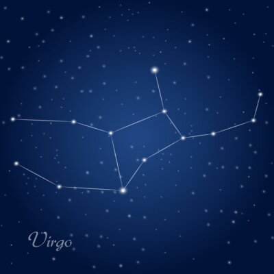 Posters Vierge signe constellation du zodiaque au ciel étoilé