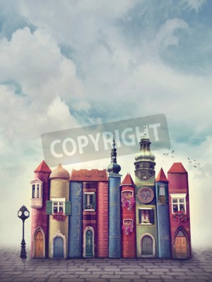 Posters Ville magique avec des livres anciens