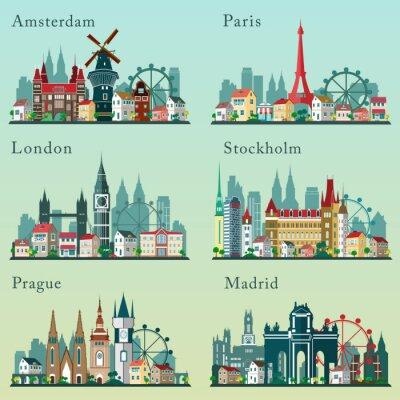 Posters Villes horizons fixés. Vector paysages plats. Villes européennes paysages urbains