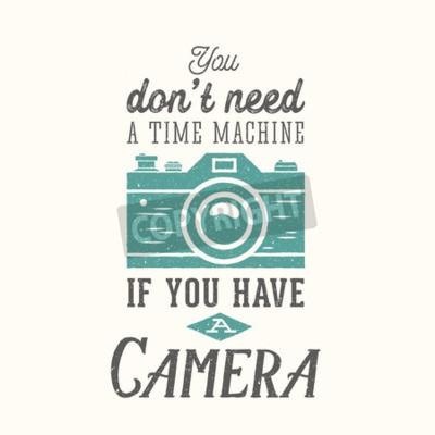 Posters Vintage, appareil photo, photographie, vecteur citation, étiquette, carte, ou, Gabarit, retro, typographie, texture, séparer, couche