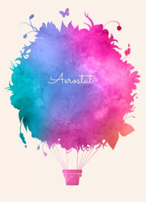 Posters vintage Aquarelle balloon.Celebration d'air chaud backgroun festive