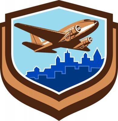 Posters Vintage, avion, décollage, Cityscape, bouclier, retro