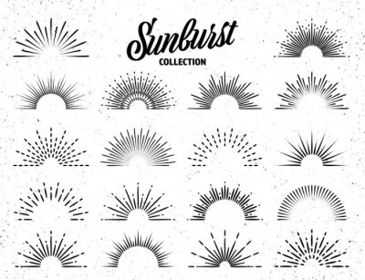 Posters Vintage grunge sunburst collection. Bursting sun rays. Fireworks. Logotype or lettering design element. Radial sunset beams. Vector illustration.