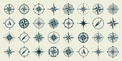 Posters Vintage marine wind rose, nautical chart. Monochrome navigational compass with cardinal directions of North, East, South, West. Geographical position, cartography and navigation. Vector illustration.