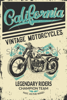 Posters Vintage motorcycle placard with motorbike. Vector illustration.