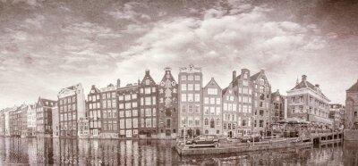 Posters Vintage photo des bâtiments d'Amsterdam