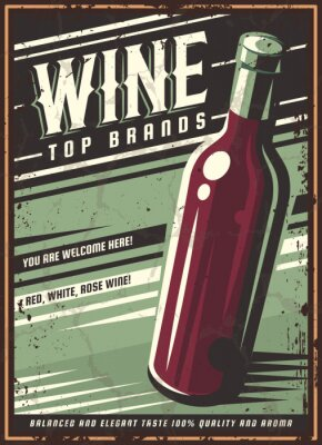 Posters Vintage poster of a bottle of wine. Overlay vector texture. Minimalism old banner, vector image.