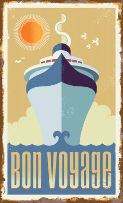 Posters Vintage retro cruise ship vector design - metal sign poster