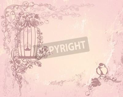 Posters vintage rose jardin avec cage ouverte et l'oiseau - shabby chic concept de la liberté de fond avec la place pour votre texte