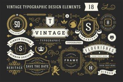 Posters Vintage typographic decorative ornament design elements set vector illustration