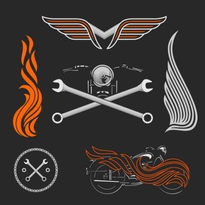 Posters Vintage vecteur moto logos, emblèmes, modèles, étiquettes, symboles et moto des éléments de conception.