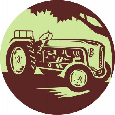 Posters Vintage Wood Tractor Cercle de gravure sur bois