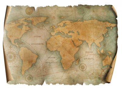Posters Vintage world map parchment isolated on white. Based on image furnished from NASA.