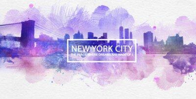 Posters Violet New York City rêve la peinture de carte postale