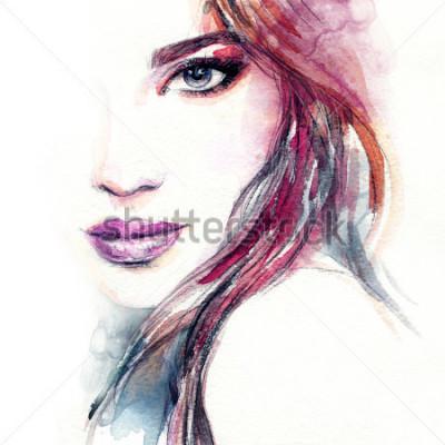 Posters Visage de femme abstraite. Illustration de mode Peinture à l'aquarelle