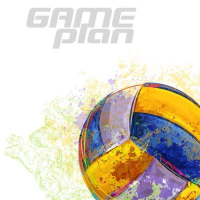 Posters Volley-ball Tous les éléments sont dans des couches séparées et regroupées.
