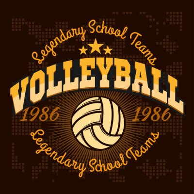 Posters Volleyball, championnat, logo, balle, -, vecteur, Illustration.