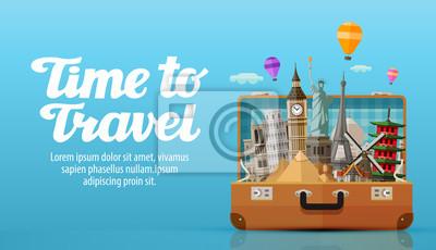 Posters Voyage au monde. Ouvert valise avec repères. Illustration vectorielle