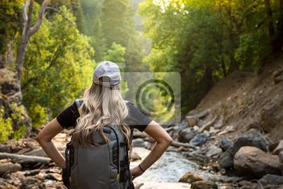 Posters Vue de derrière d'une femme en randonnée près d'un ruisseau de montagne pendant ses vacances. Gros plan sur la photo d'une femme active profitant du plein air dans un cadre magnifique