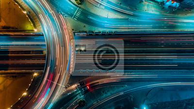 Posters Vue de dessus d'autoroute, le trafic routier est une infrastructure importante