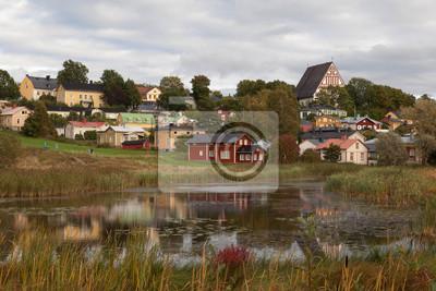 Vue de la vieille ville de Porvoo en automne. Finlande.