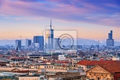 """Vue du quartier des affaires de l `Milan"""" Duomo di Milano """"."""