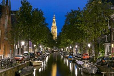 Posters Vue nocturne de Zuiderkerk à Amsterdam