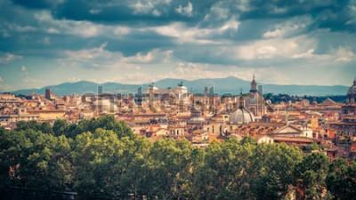 Posters Vue panoramique aérienne de Rome, en Italie. Paysage urbain de la vieille Rome par une journée ensoleillée. Skyline de Rome en été. Beau panorama panoramique de Rome d'en haut. La photo vintage pi