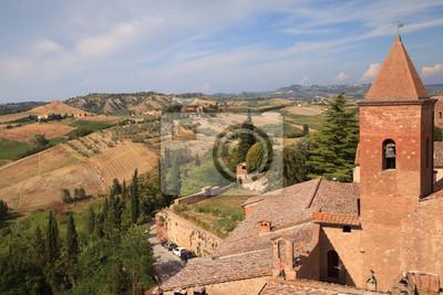 Vue panoramique sur collines de la Toscane à partir de Certaldo, Italie