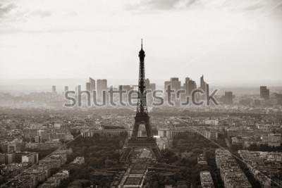 Posters Vue sur le toit de la ville de Paris avec la tour Eiffel en noir et blanc.