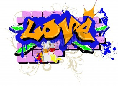 Posters wall Graffiti love Urban Art