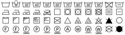 Posters Washing symbols set. Laundry icons. Vector illustration