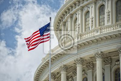 Posters Washington DC Capitol détail sur le ciel nuageux