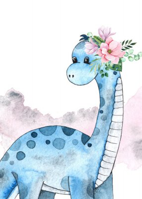 Posters Watercolor and graphic dinosaurs pre-made cards with Brachiosaurus, Stegosaurus on white background with watercolor shapes