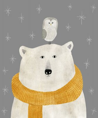 Posters watercolor and pencil drawing of a polar bear with an owl on his head. Christmas illustration