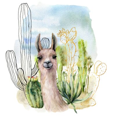 Posters Watercolor and sketch desert landscapes card with lama. Hand painted golden and black mexican cactus, sky and clouds. Botanical illustration isolated on white background for design, print, fabric.