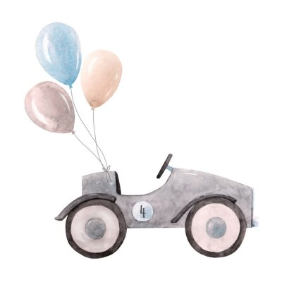 Posters Watercolor baby car illustration