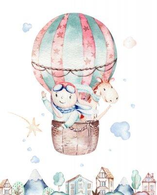 Posters Watercolor balloon set baby cartoon cute pilot aviation illustration. sky transport balloons with giraffe and elephant, koala, bear and bird, clouds. childish baby boy shower illustration