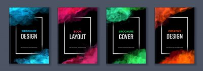 Posters Watercolor booklet brochure colourful abstract layout cover design template bundle set with black background and frame