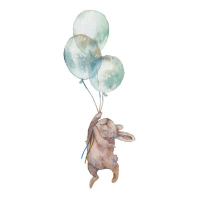 Posters Watercolor bunny with air balloons illustration. Hand painted rabbit fly. Cute animal isolated on white background. Cartoon hare in boho chic style