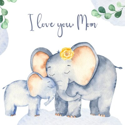 Posters Watercolor card with cute cartoon Mother's Day elephants