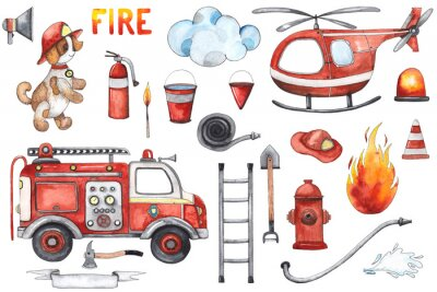 Posters Watercolor cartoon cute set Firefighting and fire safety equipment illustration. Fire truck, helicopter, dog, helmet, hose, column, fire extinguisher. Baby shower red colorful clip art