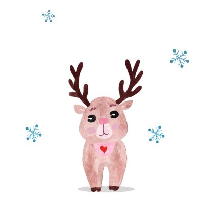 Posters Watercolor christmas illustration with holiday deer