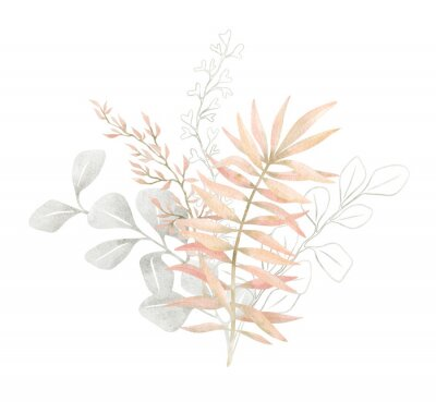 Posters Watercolor composition with plants and leaves in pastel pink color. Aesthetic gently bouquet in boho style with palm leaf, eucalyptus, foliage, nature element. Illustration for wedding, business card.