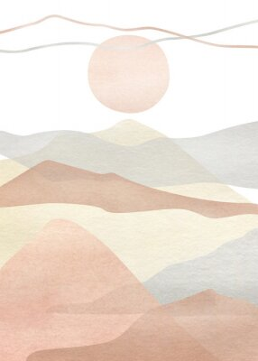 Posters Watercolor creative minimalist hand painted landscape composition, mountains. Abstract modern print, poster, for wall decoration, card or brochure cover design. Aesthetic trendy illustration