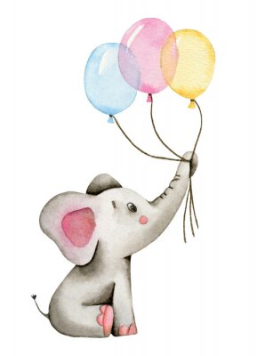 Posters Watercolor cute elephant holds the trunk of multi-colored balloons isolated on white background.